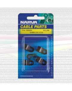 Narva 56583BL Nylon Black Cable Clamps (P-Clips) - 7.9mm (Blister Pack of 5)
